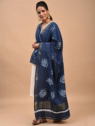 Blue Natural and Shibori Dyed Cotton Dupatta
