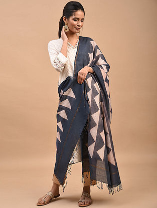 Navy-Ivory Shibori Dyed Cotton Dupatta