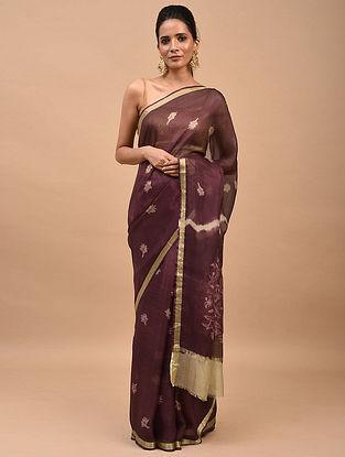 Plum Brown Shibori Dyed Kota Silk Saree
