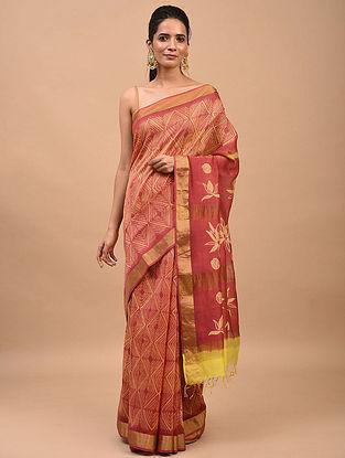 Yellow-Pink Shibori Dyed Maheshwari Saree