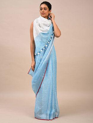 Blue Handwoven Linen Saree
