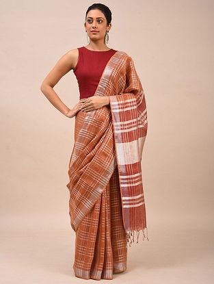 Brown-Red Handwoven Linen Saree