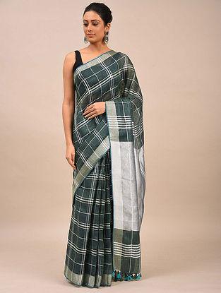 Charcoal Black Handwoven Linen Saree