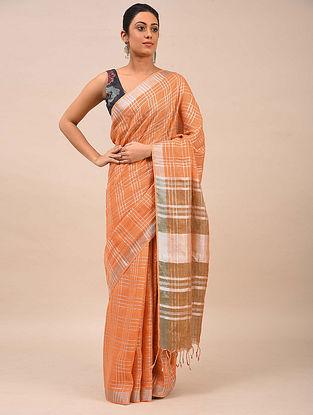 Peach Handwoven Linen Saree