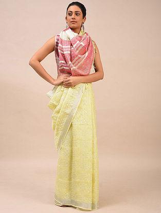 Beige-Maroon Handwoven Linen Saree