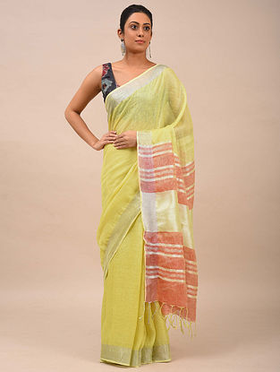 Yellow-Red Handwoven Linen Saree