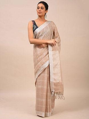 Beige Handwoven Linen Saree