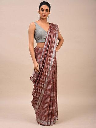 Maroon Handwoven Linen Saree