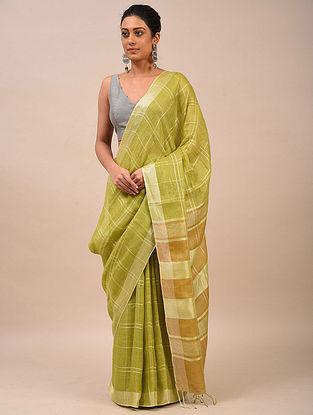 Lime Green Handwoven Linen Saree