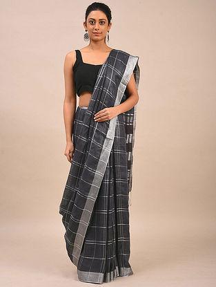 Charcoal Handwoven Linen Saree