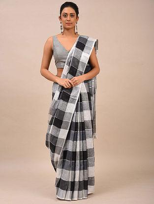 Black-Ivory Handwoven Linen Saree