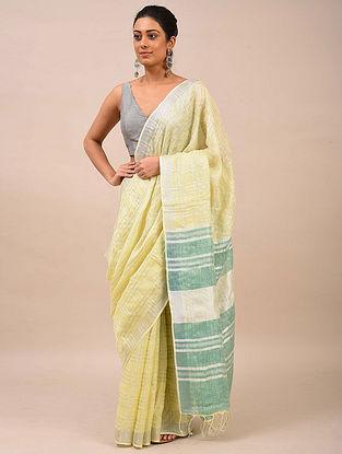Yellow-Green Handwoven Linen Saree