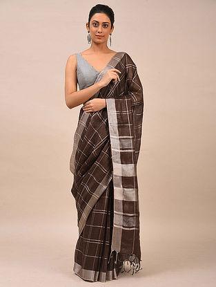 Brown Handwoven Linen Saree
