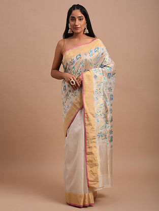 Ivory-Blue Handwoven Chanderi Saree