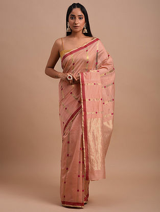 Pink-Red Handwoven Chanderi Saree