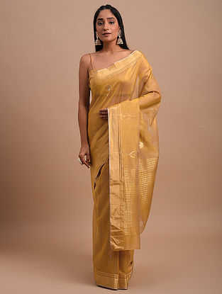Golden Handwoven Chanderi Saree