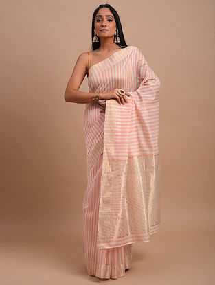Pink-Ivory Handwoven Chanderi Saree
