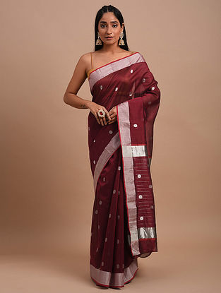 Maroon Handwoven Chanderi Saree