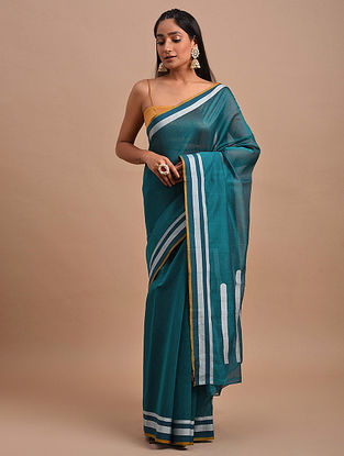 Teal Handwoven Chanderi Saree