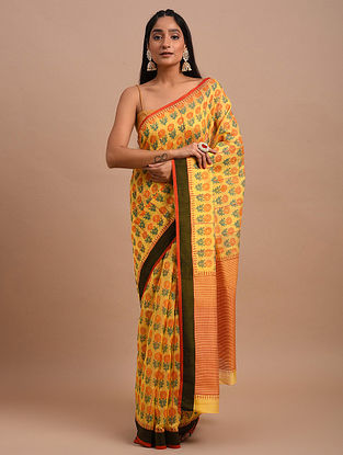 Mustard Handwoven Chanderi Saree