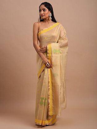 Beige-Yellow Handwoven Chanderi Saree
