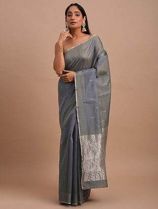 Grey Handwoven Chanderi Saree
