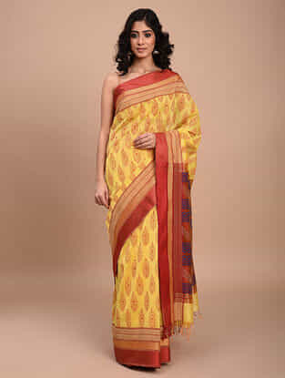 Yellow-Red Block Printed Maheshwari Saree