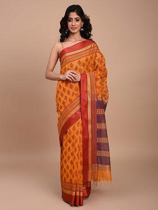 Orange Block Printed Maheshwari Saree