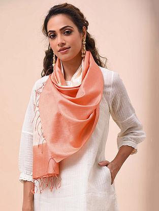 Peach Handwoven Shibori Silk Stole
