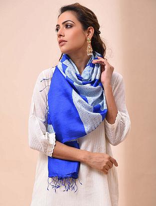Blue Handwoven Shibori Striped Silk Stole