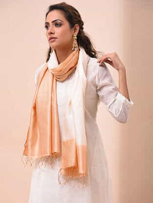 Beige-Ivory Handwoven Shibori Silk Stole