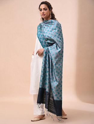 Blue Handwoven Shibori Tussar Silk Dupatta