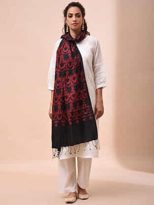 Black-Red Handwoven Shibori Tussar Silk Dupatta