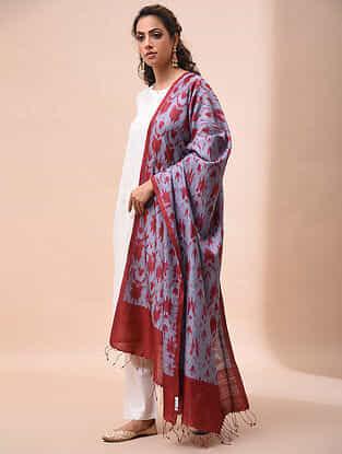 Grey-Red Handwoven Shibori Tussar Silk Dupatta