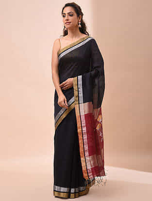 Black-Red Handwoven Jamdani Silk Linen Saree