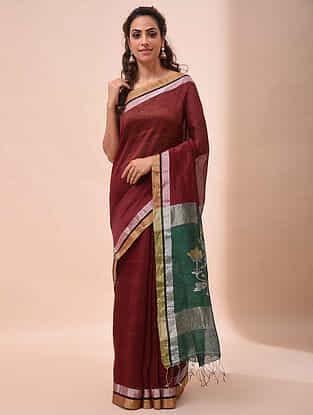 Red-Green Handwoven Jamdani Silk Linen Saree