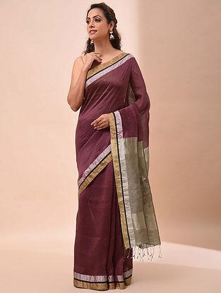 Red-Grey Handwoven Jamdani Silk Linen Saree