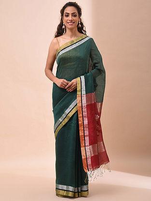 Green-Red Handwoven Jamdani Silk Linen Saree