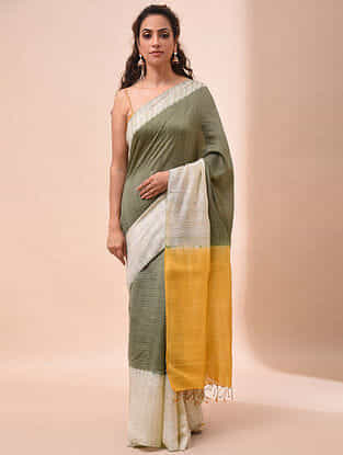 Green-Yellow Handwoven Shibori Silk Saree
