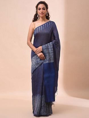 Indigo Handwoven Shibori Silk Saree