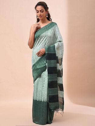 Green Handwoven Shibori Matka Silk Saree