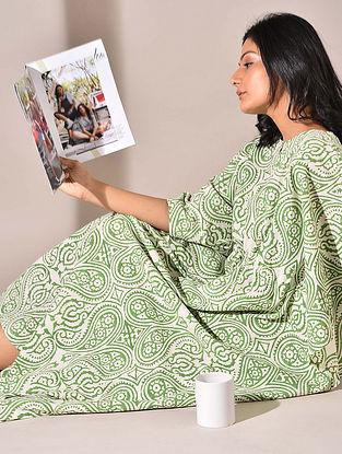 Green Block Printed Cotton Kaftan