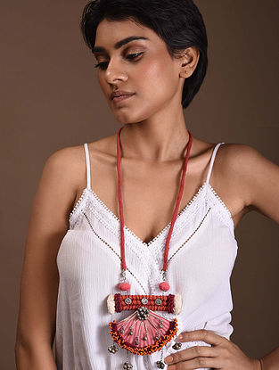Red Pink Silver Tone Handcrafted Fabric Necklace