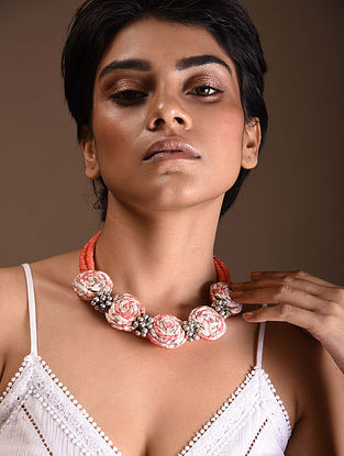 Pink Cream Silver Tone Handcrafted Fabric Necklace