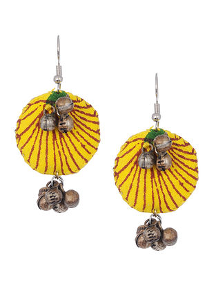Yellow Silver Tone Handcrafted Fabric Earrings