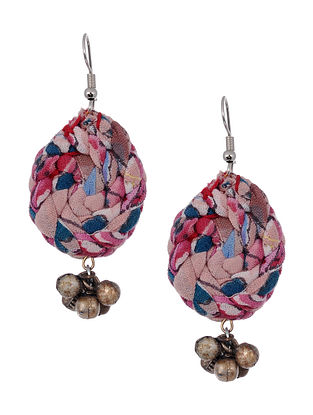 Multicolored Silver Tone Handcrafted Fabric Earrings