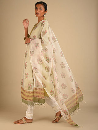 White-Green Handwoven Block Printed Cotton Dupatta