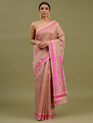 Old Rose Handwoven Chanderi Silk Cotton Saree