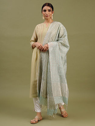 Silver-Green Handwoven Chanderi Silk Cotton Dupatta