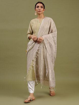 Silver Handwoven Chanderi Silk Cotton Dupatta